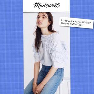 Madewell Karen Walker Striped Ruffle Top Size 2X
